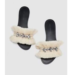 ZARA SS18BEADED FRINGED SLIDES 40 REF 3606/301